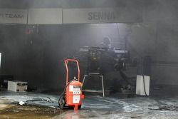 aftermath, a fire Williams F1 Team pit area