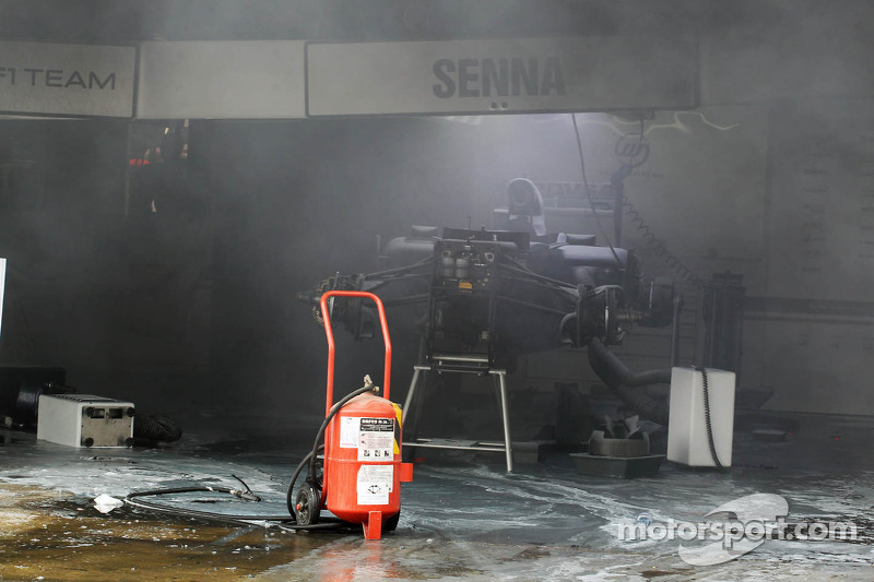 The aftermath of a fire in the Williams F1 Team pit area at Spanish