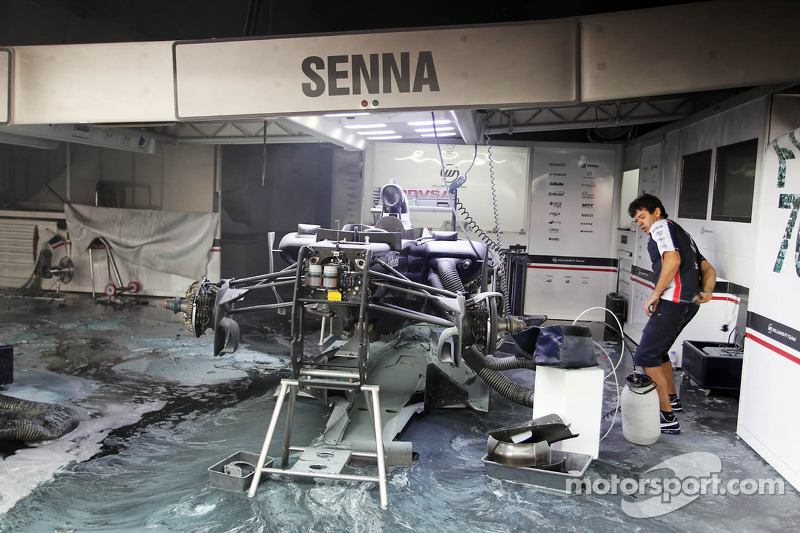 The aftermath of a fire in the Williams F1 Team pit area at Spanish GP