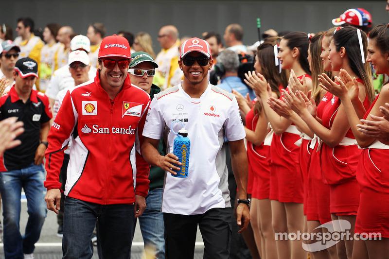 Fernando Alonso, Scuderia Ferrari en Lewis Hamilton, McLaren rijdersparade