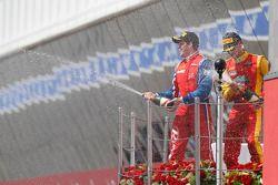 Podium: race winner Luiz Razia, second place Nathanael Berthon, and third place Davide Valsecchi