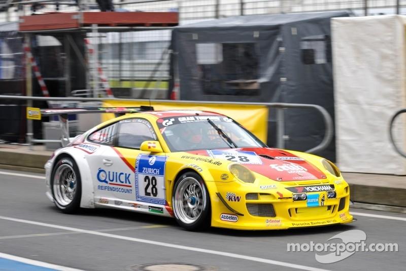 El #28 Porsche 997 GT3 R: Klaus Abbelen, Sabine Schmitz, Christopher Brück, Patrick Huismann
