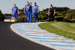 Mark Winterbottom and Steve Richards walk the track