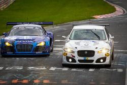 #186 Jaguar XF-S: Colin White, Nathan Freke, Meyrick Cox, #2 Audi Sport Team Phoenix Audi R8 LMS Ult