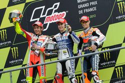 Podium: race winner Jorge Lorenzo, Yamaha Factory Racing, second place Valentino Rossi, Ducati Marlb