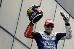 Podio: il vincitore della gara Jorge Lorenzo, Yamaha Factory Racing