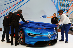 Carlos Tavares, Renault COO; Laurens Van Den Acker, Renault Industrial Design Director; Sebastian Vettel, Red Bull Racing; and Alain Prost, unveil the Renault Alpine A110-50 Concept car on the Red Bull Energy Station