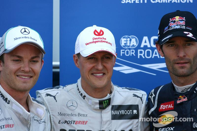 Michael Schumacher, Mercedes GP, Nico Rosberg, Mercedes GP ve Mark Webber, Red Bull Racing