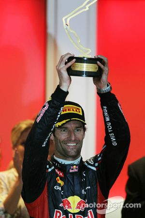 Race winnaar Mark Webber, Red Bull Racing op het podium