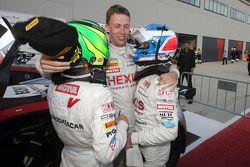 Frederic Makowiecki, Stef Dusseldorp en Gregoire Demoustier vieren een-twee finish