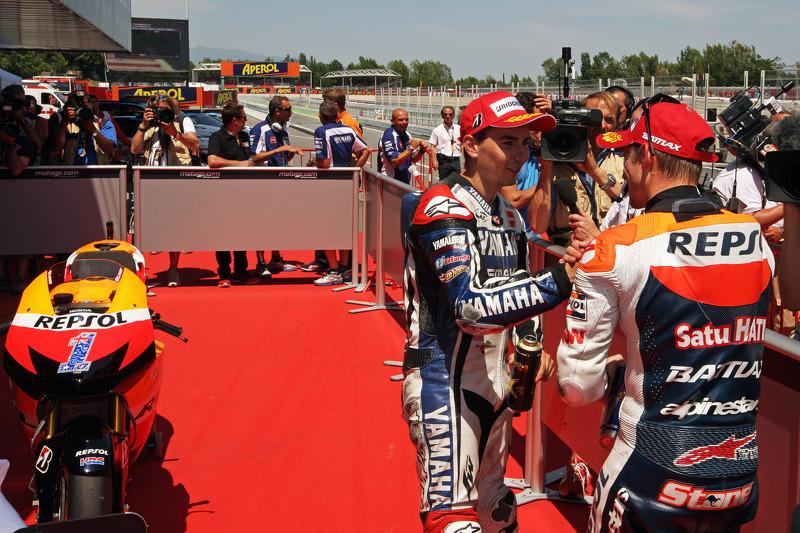 Casey Stoner, Repsol Honda Team and Jorge Lorenzo, Yamaha Factory Racing
