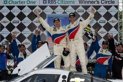 Race winners Joao Barbosa and Darren Law celebrate