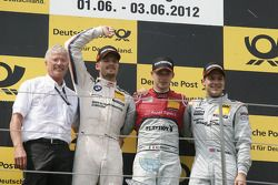 Podium, Arno Zensen, Teambaas Audi Sport Team Rosberg, 2de Martin Tomczyk, BMW Team RMG BMW M3 DTM,