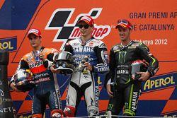 Podium: race winner Jorge Lorenzo, Yamaha Factory Racing, second place Dani Pedrosa, Repsol Honda Te