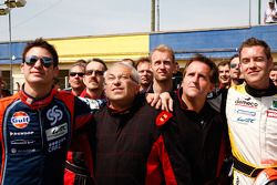 Drivers and media kart challenge at Circuit Alain Prost: Guillaume Moreau, AFP's Jean-François Monnier, Motorpsort.com's Eric Gilbert and Julien Canal
