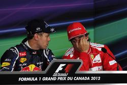 Polepositie Sebastian Vettel, Red Bull Racing en Fernando Alonso, Scuderia Ferrari in de persconfere