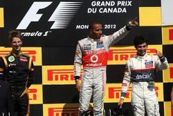 Podium : Romain Grosjean, Lotus F1 Team, Lewis Hamilton, McLaren Mercedes et Sergio Perez, Sauber F1 Team