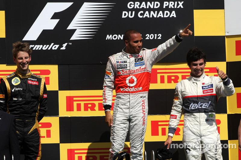 2012 - 1. Lewis Hamilton, 2. Romain Grosjean, 3. Sergio Pérez