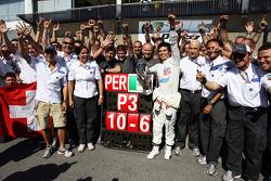 Sergio Perez, Sauber F1 Team celebrates his third position with the team