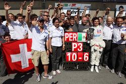 Kamui Kobayashi, Sauber F1 Team F1 Team with 3rd place Sergio Perez, Sauber F1 Team F1 Team with the