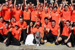 Race winner Lewis Hamilton, McLaren Mercedes celebrates with girlfriend Nicole Scherzinger, Singer a