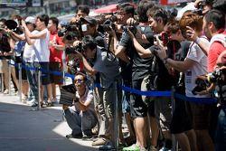 Fans durant le pitwalk