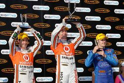 Podium: race winner Craig Lowndes, second place Jamie Whincup, third place Mark Winterbottom