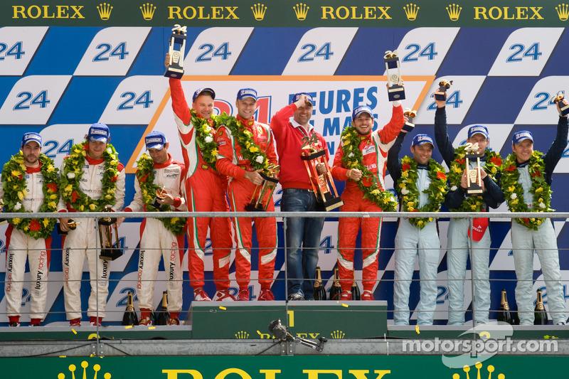 LMGTE Pro podium: class winners Giancarlo Fisichella, Gianmaria Bruni, Toni Vilander, second place Frederic Makowiecki, Jaime Melo, Dominik Farnbacher, third place Stefan Mücke, Adrian Fernandez, Darren Turner