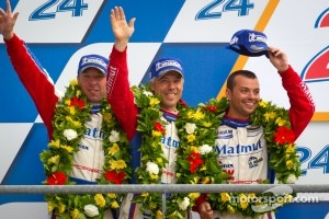 LMGTE Am podium: second place at 24 Hours of Le Mans, 2012