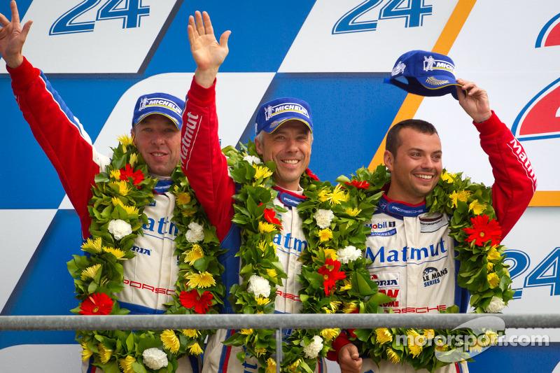 LMGTE Am podium: second place Anthony Pons, Raymond Narac, Nicolas Armindo
