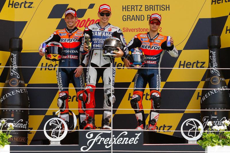 2012: 1. Jorge Lorenzo, 2. Casey Stoner, 3. Dani Pedrosa