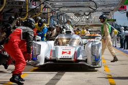 Pit stop for #2 Audi Sport Team Joest Audi R18 E-Tron Quattro: Rinaldo Capello, Tom Kristensen, Allan McNish