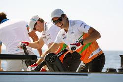 Nico Hulkenberg, de Sahara Force India F1, y Jules Bianchi, Tercer Piloto del Sahara Force India F1