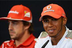 Lewis Hamilton, McLaren and Fernando Alonso, Ferrari in the FIA Press Conference
