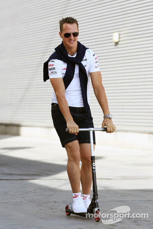 Michael Schumacher, Mercedes AMG F1 on a scooter