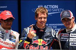 Lewis Hamilton, McLaren Mercedes, Sebastian Vettel, Red Bull Racing and Pastor Maldonado, Williams F1 Team