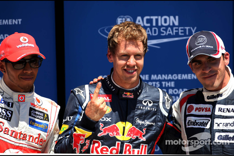 Lewis Hamilton, McLaren Mercedes, Sebastian Vettel, Red Bull Racing en Pastor Maldonado, Williams F1