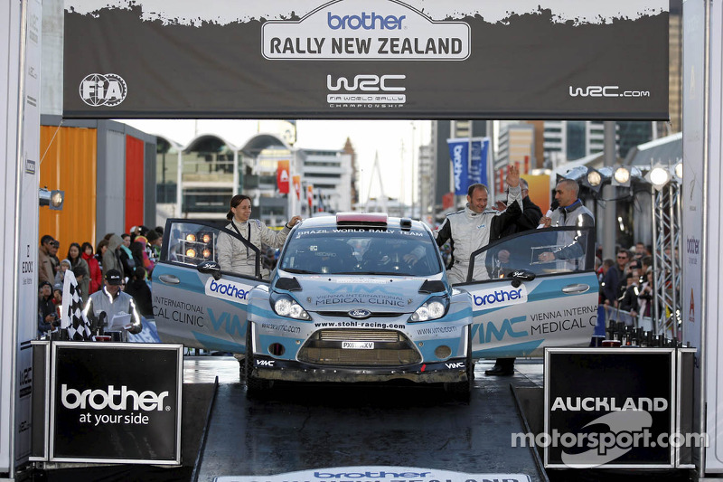Podium: Manfred Stohl and Ilka Minor, Ford Fiesta RS WRC