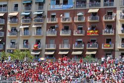 Fans in the grandstands and surrounding buildings
