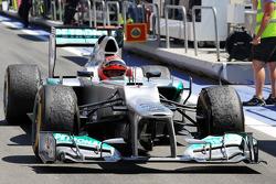 Tercer lugar Michael Schumacher, Mercedes AMG F1 en parc ferme