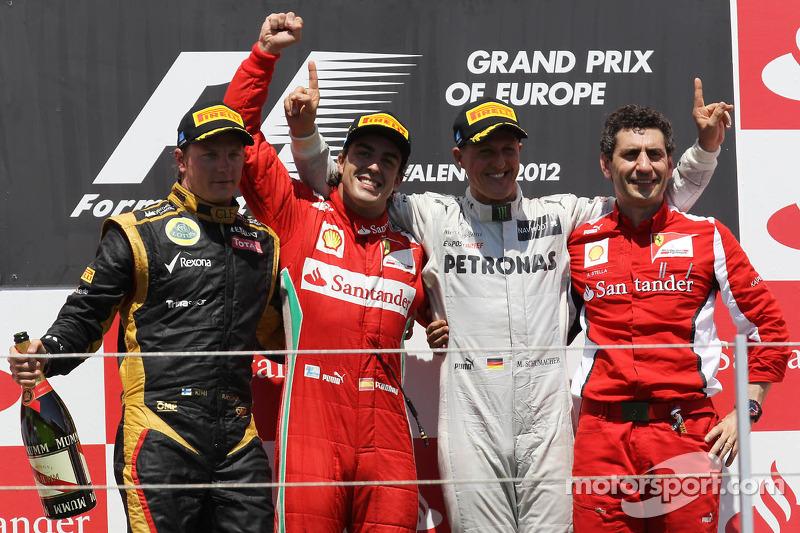 Fernando Alonso, Scuderia Ferrari, Kimi Raikkonen, Lotus Renault F1 Team, Michael Schumacher, Merced