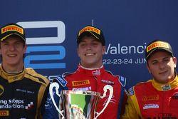 Podium: race winner Luiz Razia, second place James Calado, third place Fabio Leimer