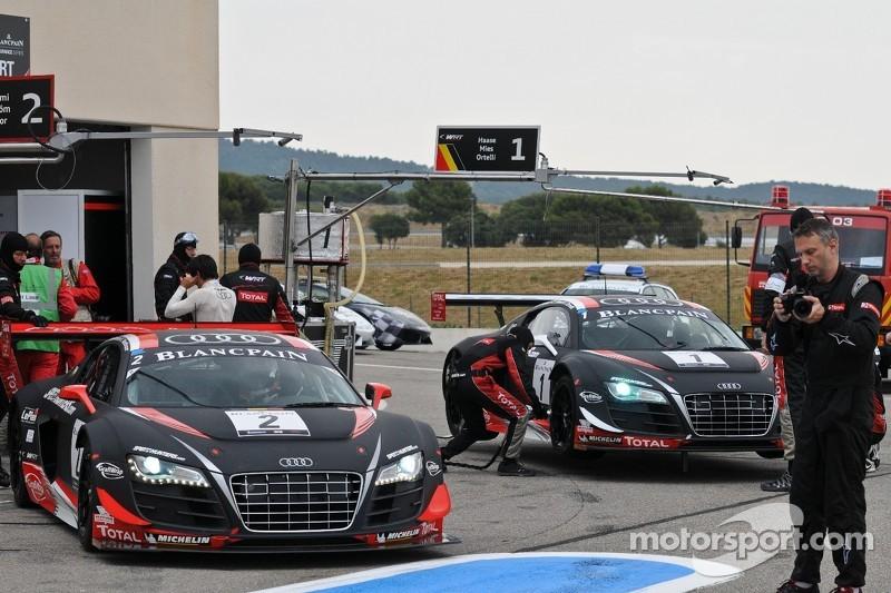 #2 Belgian Audi Club Team WRT Audi R8 LMS ultra: Edward Sandstrom, Laurens Vanthoor, Marco Bonanomi