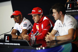 Lewis Hamilton, McLaren Mercedes Mercedes; Fernando Alonso, Ferrari and Paul di Resta, Sahara Force India F1 in the FIA Press Conference