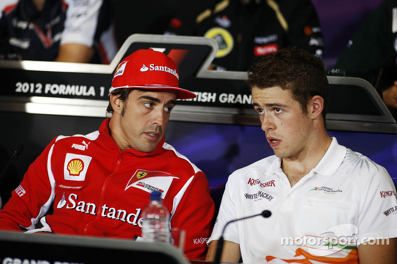 Fernando Alonso, Ferrari en Paul di Resta, Sahara Force India F1 in de FIA persconferentie