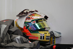 The helmet of Lewis Hamilton, McLaren