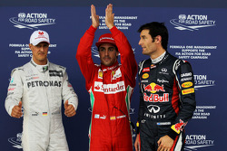 Polepositie Fernando Alonso, Scuderia Ferrari, 2de Mark Webber, Red Bull Racing en 3de Michael Schum