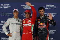 Polepositie Fernando Alonso, Scuderia Ferrari, 2de Mark Webber, Red Bull Racing en 3de Michael Schumacher, Mercedes AMG Petronas 07