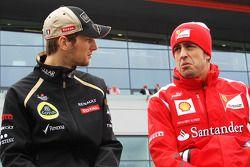 Romain Grosjean, Lotus F1 Team en Fernando Alonso, Ferrari rijdersparade