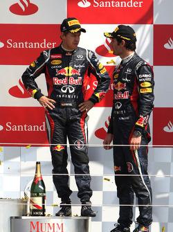 Марк Уэббер и Себастьян Феттель. ГП Великобритании, Воскресенье, после гонки.